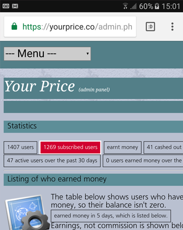 Your price admin panel